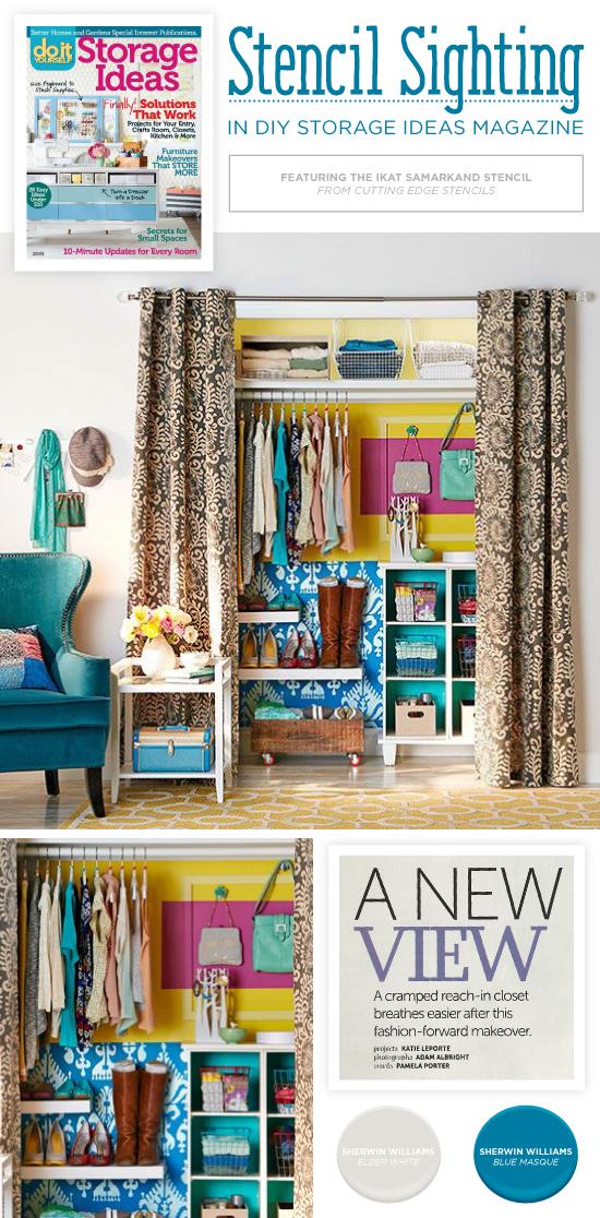Ikat samarkand stencil diy stenciled closet diy magazine1