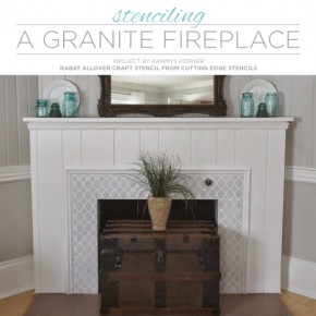 Cutting Edge Stencils shares a DIY painted granite fireplace makeover using the Rabat Craft Stencil. http://www.cuttingedgestencils.com/rabat-furniture-fabric-stencil.html