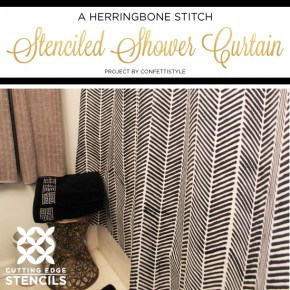 A Herringbone Stitch Stenciled Shower Curtain