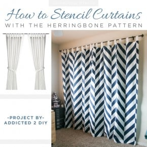 Cutting Edge Stencils shares how to make DIY stenciled curtains using the Herringbone Allover Stencil. http://www.cuttingedgestencils.com/herringbone-stencil-pattern.html