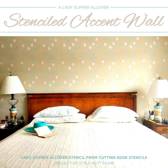 A Lady Slipper Allover Stenciled Accent Wall - Stencil Stories ...