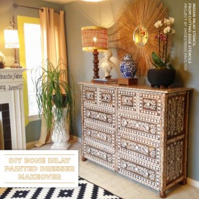 DIY Bone Inlay Painted Dresser Makeover