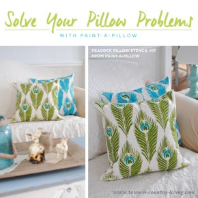 Cutting Edge Stencils shares DIY stenciled accent pillows using the Peacock Feathers Paint-A-Pillow kit. http://paintapillow.com/index.php/peacock-feathers-paint-a-pillow-kit.html