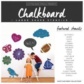 Cutting Edge Stencils shares new DIY chalkboard large shape stencils. http://www.cuttingedgestencils.com/chalkboard-stencils.html