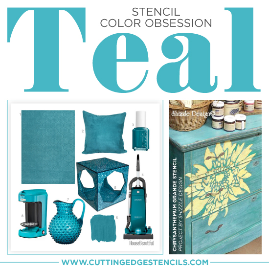 Charming Teal Stenciled Home Decor. Stencil Color Obsession: Teal