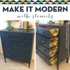 Cutting Edge Stencils shares DIY painted and stenciled furniture ideas using the Triad Stencil. http://www.cuttingedgestencils.com/triad-pattern-stencils-for-diy-home-decor.html