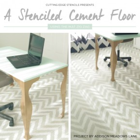 Cutting Edge Stencils shares a DIY painted and stenciled cement floor using the Ikat Zig Zag Stencil. http://www.cuttingedgestencils.com/zigzag-stencil-pattern.html