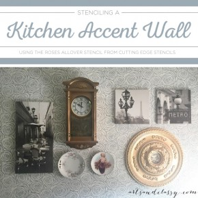 The Roses Stencil Blooms On A Kitchen Accent Wall