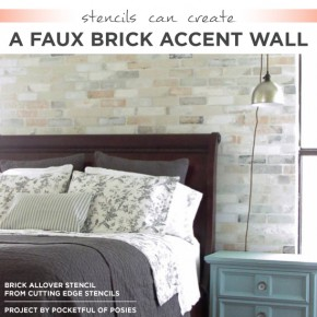 Cutting Edge Stencils shares a realistic DIY stenciled accent wall using the Brick Allover Stencil. http://www.cuttingedgestencils.com/bricks-stencil-allover-pattern-stencils.html