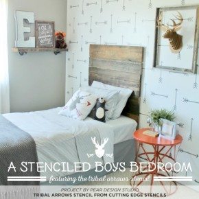Cutting Edge Stencils Shares A DIY Stenciled Accent Wall In A Rustic Boys  Room Using The