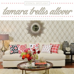Cutting Edge Stencils shares DIY home decor ideas using the Tamara Trellis Allover Stencil. http://www.cuttingedgestencils.com/tamara-trellis-allover-wall-stencils.html