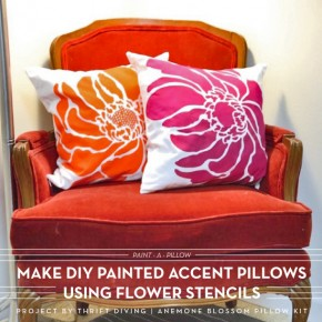 Make DIY Painted Accent Pillows Using Flower Stencils