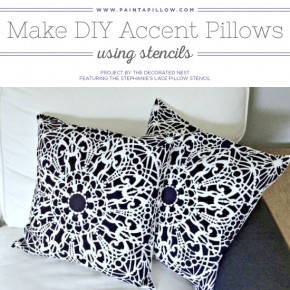 Cutting Edge Stencils shares how to stencil DIY accent pillows using the Stephanie's Lace Paint-A-Pillow kit. http://paintapillow.com/index.php/stephanie-s-lace-paint-a-pillow-kit.html
