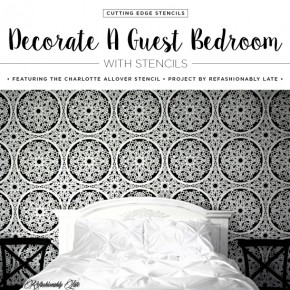 Cutting Edge Stencils shares a DIY stenciled guest bedroom accent wall using the Charlotte Allover Stencil. http://www.cuttingedgestencils.com/charlotte-allover-stencil-pattern.html