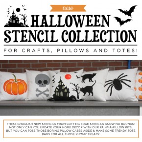 The Halloween Stencil Collection from Cutting Edge Stencils comes in craft and pillow/tote bag sizes. http://www.cuttingedgestencils.com/products_search.php?search_category_id=0&search_string=halloween&search=