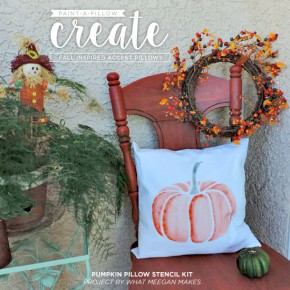Cutting Edge Stencils shares how to create easy Fall DIY decor using the Pumpkin stencil accent pillow kit. http://www.cuttingedgestencils.com/pumpkin-stencils-halloween-throw-pillows-diy-home-decor.html