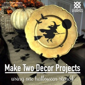Cutting Edge Stencils shares how to stencil DIY Halloween table decor using the Witch Craft Stencil. http://www.cuttingedgestencils.com/halloween-design-witch-stencil-diy-craft-design.html