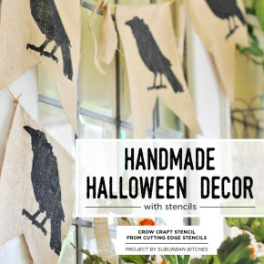 Cutting Edge Stencils shares how to create DIY handmade Halloween decorations using craft stencils. http://www.cuttingedgestencils.com/halloween-stencils-crow-stencil-design-diy-craft.html