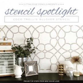 Cutting Edge Stencils shares DIY stenciled room ideas using the Coco Trellis Stencil to get a wallpaper look. http://www.cuttingedgestencils.com/coco-trellis-allover-pattern-stencil.html