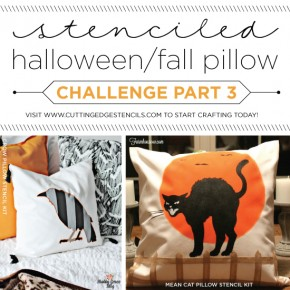 Cutting Edge Stencils shares DIY stenciled accent pillows using the new Halloween/Fall inspired stencil patterns. http://www.cuttingedgestencils.com/accent-pillow-stencil-kits.html