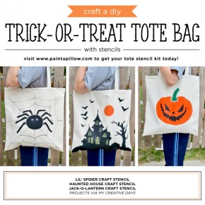 Cutting Edge Stencils shares how to craft a DIY trick-or-treat tote bag using our Halloween Stencils. http://www.cuttingedgestencils.com/accent-pillow-painted-tote-stencils.html