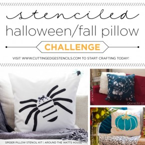 Cutting Edge Stencils shares DIY stenciled accent pillows using our Halloween Stencil patterns. http://www.cuttingedgestencils.com/accent-pillow-stencil-kits.html