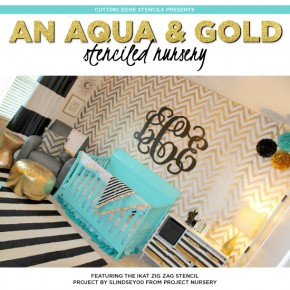 Cutting Edge Stencils shares a DIY metallic gold chevron stenciled accent wall using the Ikat Zig Zag Allover Stencil. http://www.cuttingedgestencils.com/zigzag-stencil-pattern.html