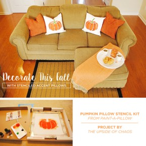 Cutting Edge Stencils shares how to make DIY stenciled accent pillows using the Pumpkin Stencil kit. http://www.cuttingedgestencils.com/pumpkin-stencils-halloween-throw-pillows-diy-home-decor.html