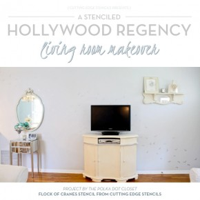A Stenciled Hollywood Regency Living Room Makeover