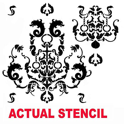 The Oceana Damask Stencil from Cutting Edge Stencils was inspired by a popular wallpaper and wall covering designs. http://www.cuttingedgestencils.com/stencil-nautical-decor.html