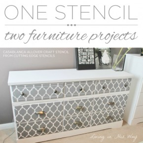 Cutting Edge Stencils shares DIY stenciled furniture ideas using the Casablanca Craft Stencil. http://www.cuttingedgestencils.com/craft-furniture-stencil.html