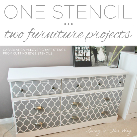 One Stencil, Two Stenciled Furniture Projects   Stencil Stories Stencil  Stories