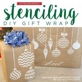 Cutting Edge Stencils shares how to stencil DIY gift wrap using Christmas Ornaments Stencil and Kraft paper. http://www.cuttingedgestencils.com/diy-christmas-decor-craft-and-furniture-stencils.html