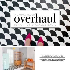 Cutting Edge Stencils shares a DIY garage makeover with a stenciled cement floor using the Fishscale Stencil. http://www.cuttingedgestencils.com/pattern-stencil-1.html