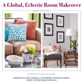 A Global, Eclectic Room Makeover Using Stencils