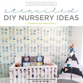 Cutting Edge Stencils shares DIY stenciled nursery ideas featuring wall stencils on accent walls. http://www.cuttingedgestencils.com/nursery-stencils-walls.html