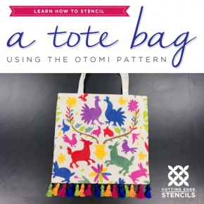 Learn How To Stencil a Tote Bag Using the Otomi Pattern