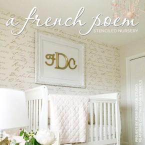 Cutting Edge Stencils shares a DIY stenciled accent wall in a gold nursery using the French Poem Allover Stencil. http://www.cuttingedgestencils.com/french-poem-typography-letter-stencil.html