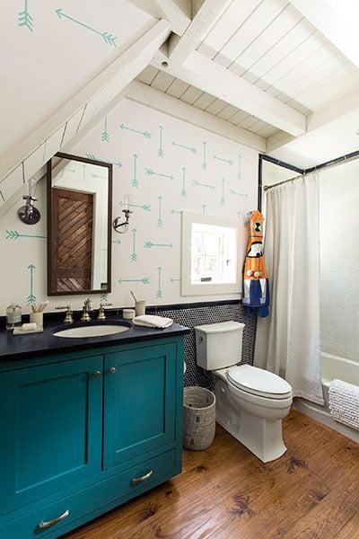 Tribal Arrows Stencil Diy Stenciled Bathroom This Old House