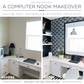 A Computer Nook Makeover Using the Drifting Arrows Stencil