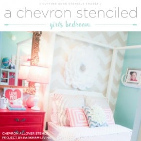 A Chevron Stenciled Girls Bedroom