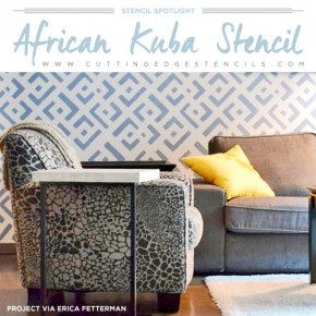 Cutting Edge Stencils shares DIY stenciled room and decor ideas using the African Kuba Stencil. http://www.cuttingedgestencils.com/african-kuba-stencil-kim-myles.html