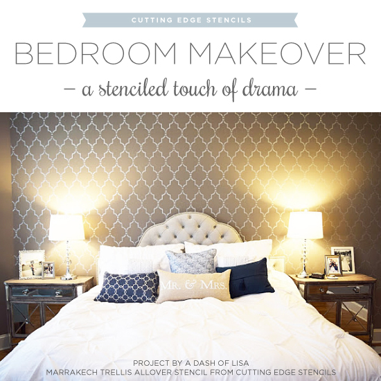 bedroom makeover a stenciled touch of drama stencil stories