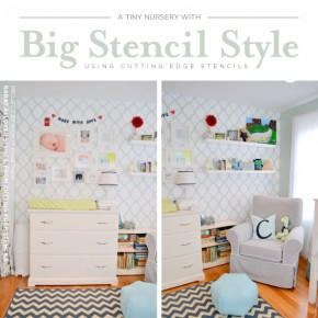 Cutting Edge Stencils shares a DIY stenciled nursery accent wall using the Rabat Allover Stencil. http://www.cuttingedgestencils.com/moroccan-stencil-pattern-3.html