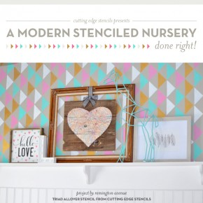 Cutting Edge Stencils shares a DIY stenciled nursery idea using the Triad Allover Stencil. http://www.cuttingedgestencils.com/triad-pattern-stencils-for-diy-home-decor.html