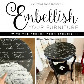 Cutting Edge Stencils shares a DIY side table makeover using the French Poem Craft Stencil and Chalk Paint. http://www.cuttingedgestencils.com/french-poem-diy-craft-stencil-design.html