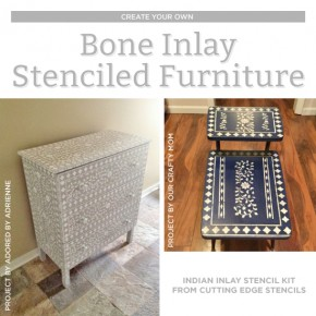 Cutting Edge Stencils shares DIY stenciled furniture makeovers using the Indian Inlay Stencil kit for a bone inlay look. http://www.cuttingedgestencils.com/indian-inlay-stencil-furniture.html