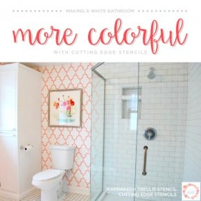 Making A White Bathroom More Colorful With A Stencil