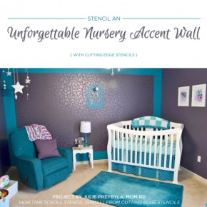 Cutting Edge Stencils shares a DIY stenciled nursery accent wall using the Venetian Scroll Allover Stencil. http://www.cuttingedgestencils.com/venetian-scroll-allover-stencil-pattern.html