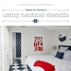 Cutting Edge Stencils shares DIY Nautical home decor projects using Beach Inspired Stencils. http://www.cuttingedgestencils.com/beach-decor-stencils-designs-nautical.html